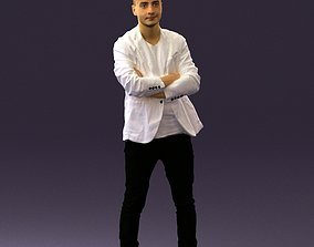 Man in white jacket black pants converse 0532 3D