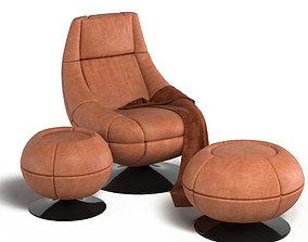 De Sede DS166 Leather Lounge Chair 3D