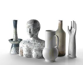 3D Sculptures Vases and Hand Composition