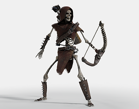 3D model animated Skeleton Archer