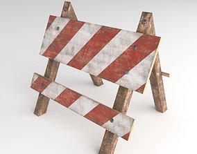 Wooden road traffic barrier 3D