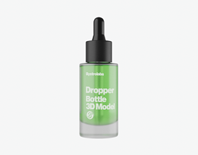 cosmetic Frosted Glass Dropper Bottle 3D