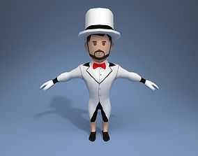 3D model rigged Medieval character gentleman