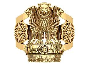 India Ashoka Gents Ring 3D print model