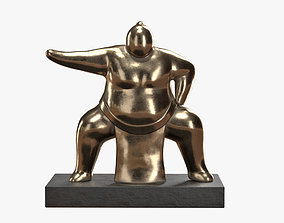3D asset Sumo Wrestler Statue