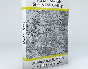 realistic 3D model Jakarta Streets and Buildings