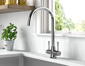 Brushed Steel Max Twin Lever Monobloc Tap 3D model
