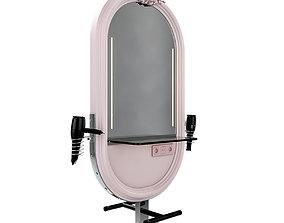 3D model hairdresser table mirror pink chrome
