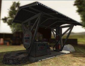 3D asset Antique Gas Station