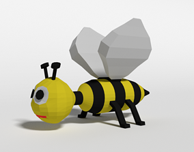 3D asset Low Poly Cartoon Bee Toy