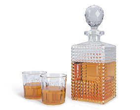 decanter and glasses 3D