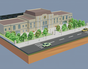 Low poly Train Station 3D asset low-poly