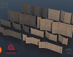 3D model Low-poly Modular Wooden Fence set PBR