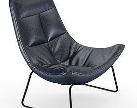 Leren fauteuil Hugo Armchair 3D model