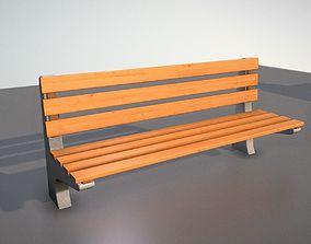 Wooden Park Bench With Concrete Foots 3D model