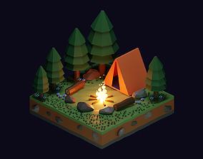 3D model Camp fire isometric cartoon illustration