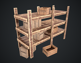 3D model Rack Old Painted With Wooden Crate and Box Pack