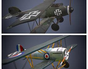 Two ww1 planes German British 3D