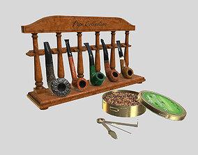 3D model Smoking Briar Pipe Set