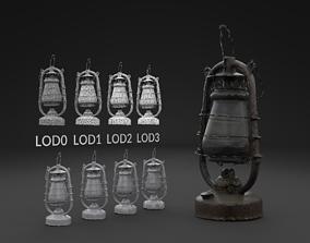 Scanned Old Kerosene Lamp LOW POLY LODs 3D asset