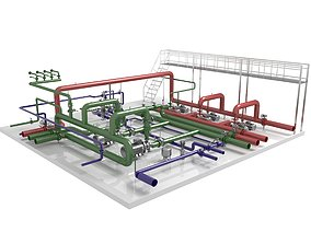 heating Industrial boiler room 3D