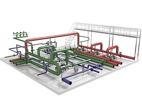 heating Industrial boiler room 3D