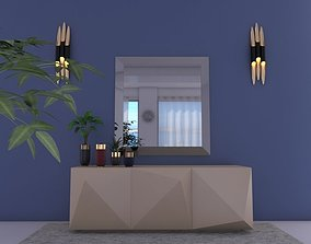 3D model origami consul table and miror