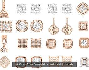 16 Women Square Earrings 3dm stl render