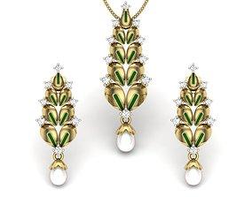 jewelry Women pendant-earrings set 3dm render detail