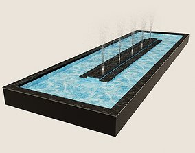 Large Fountain 3D Model animated