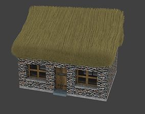 3D asset low-poly Small thatched Cottage