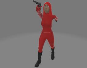 Red Female Commando Assassin 3D model