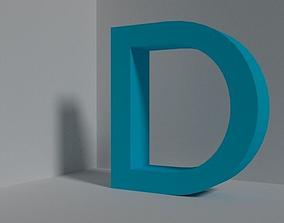 3D asset Letter D - font