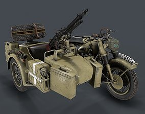 PBR German motorcycle with sidecar WW2 3d model