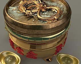 Chinese Gold Ingot pot ancient 3D