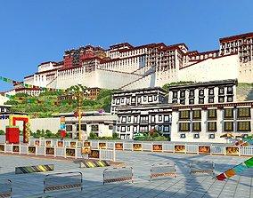 potala palace lhasa tibet tibetan 3D
