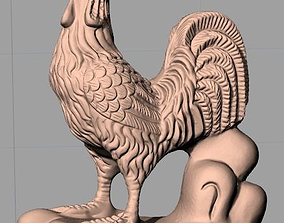 Animal Sculpture Model Zodiac Rooster A145 3D