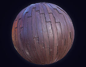 3D model Stylized Wood planks PBR seamless texture