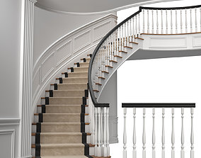 3D model Classic stairs 3