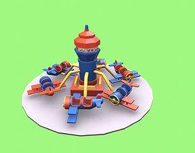 airplane ride amusement park 3D asset
