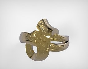 3D print model Jewelry Golden Twisted Ribbon Ring