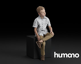 Humano Sitting boy 0608 3D