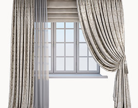 3D model Classic beige curtain with a Damasc pattern