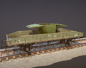 3D asset Armored Train SPU-BP railway anti-aircraft 1