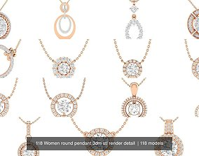 118 Women round pendant 3dm stl render detail