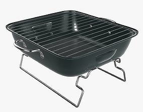 Charcoal steel grill bbq portable small 3D model
