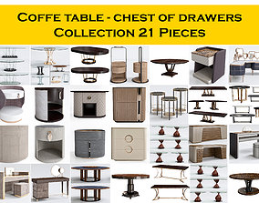 3D Coffe table - chest of drawers Collection 21 Pieces