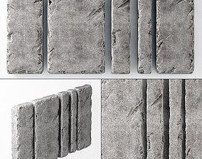 3D model Slab stone wall n1