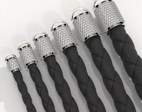 Tip for leather cord with diamonds 3D print model