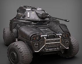 Sci Fi APC low poly police 3D asset
